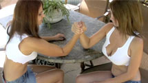 Sexy girls in a armwrestling match